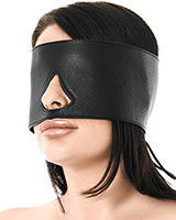 Black Leather Eye Mask with Back Lacing