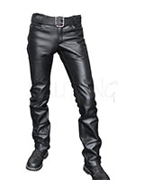 Classic Leather Jeans with Button Closure