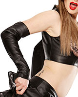 Leather Gauntlets with Stretch Panel