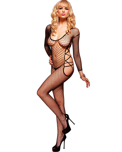 Industrial Net Long Sleeved Bodystocking