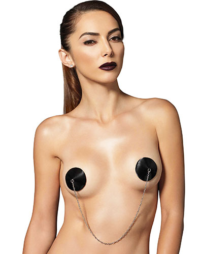 Black Satin Nipple Covers with Chain