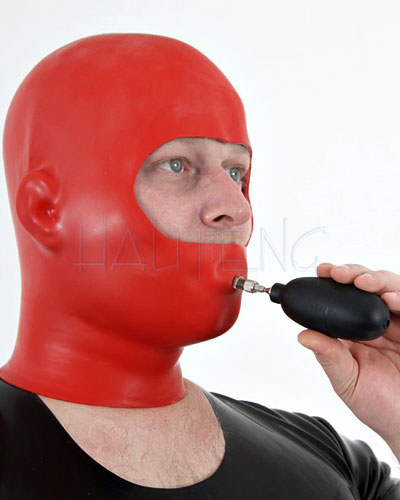Anatomical Latex Discipline Hood with Inflatable Gag