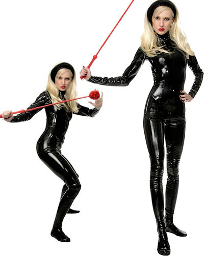 Glued Black Latex Catsuit with 2 Way Zipper and Feet