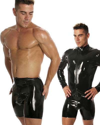 Black Glued Rubber Zip Through Cycle Shorts