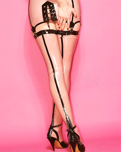 Latex Two Tone Seamed Stockings with Cuban Heel - Pink-Black