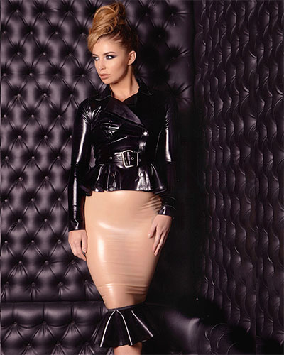 Hollywood Latex Frilled Skirt - Nude with Black