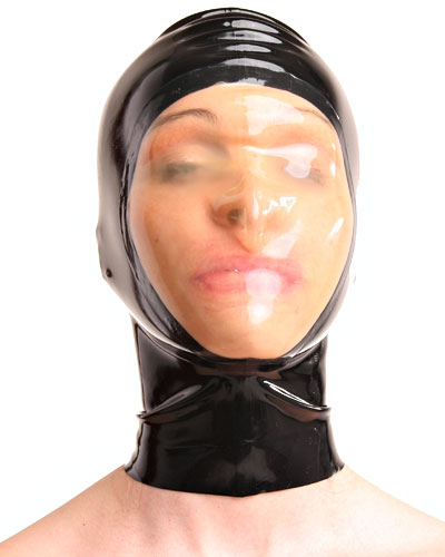 Latex Hood with Transparent Face - also Available with Zip