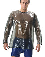 Long Sleeved PVC T-Shirt with Back Zipper