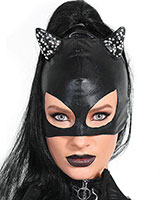 Wet Look and Rhinestone Cat Mask