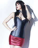 FOREVER MATTE Black Wetlook Corset - up to Size 3/4XL