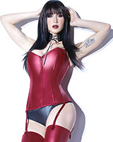 FOREVER MATTE Merlot Wetlook Corset - up to Size 3/4XL