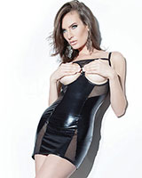 Cupless Wet Look and Mesh Chemise