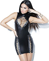 Lace-Up Wetlook Dress