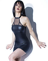 FOREVER MATTE Wetlook Dress with Mesh Panel