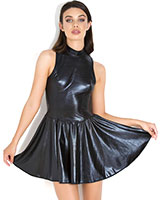 Wetlook Sleeveless Skater Dress