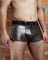 Side Laced Neoprene Shorts with Zipper