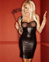LUXURIA Matte Wetlook and Mesh Dress - up to Size 3XL