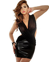 Wetlook and Mesh Dress - up to Size 3XL