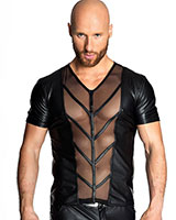 Matte Wetlook and Mesh Shirt - up to Size 6XL