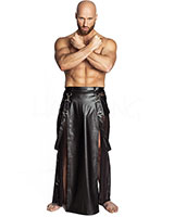 Men's Long Leatherette and Mesh Skirt - up to Size 3XL