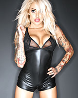 Wetlook and Mesh Teddy with Crotch Zipper