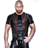Powerwetlook and Mesh Shirt with Eyelets