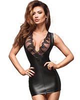 Powerwetlook and Lace Mini Dress