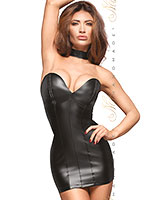 Powerwetlook Mini Dress with Eco Leather Cups