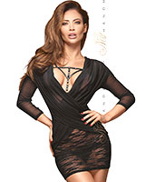 FLIRTY Lace and Mesh Dress - up to Size 6XL