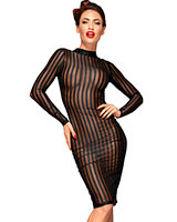 Striped Mesh Decadence Pencil Dress - up to 3XL