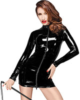 Gloss PVC Decadence Mini Dress with 2 Way Zipper - up to 3XL