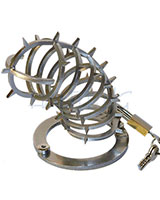 Chastity Cage with Spikes Outside - Stainless Steel